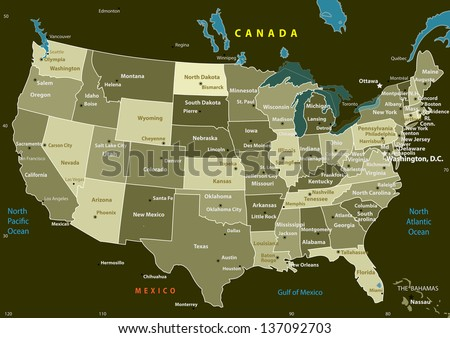 USA map with states and capital cities. Vector illustration - stock vector
