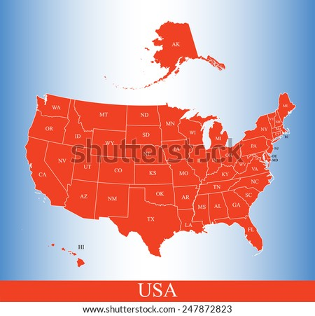 USA map with states names - stock vector
