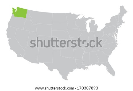 USA map with the indication of State of Washington - stock vector