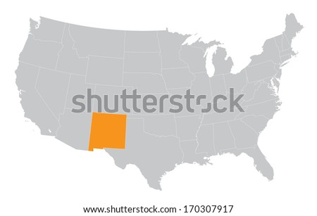 USA map with the indication of the State of New Mexico - stock vector