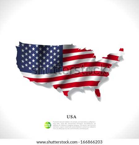 USA map with waving flag isolated against white background, vector illustration  - stock vector