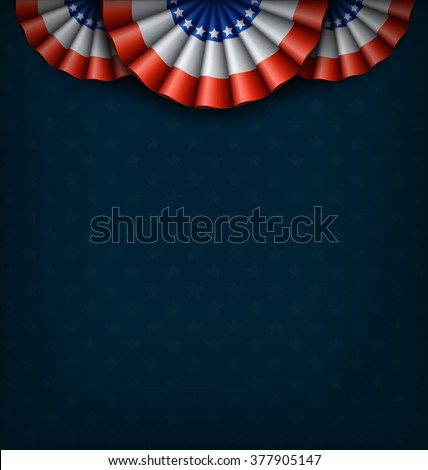 USA National Flags on Blue Background - stock vector