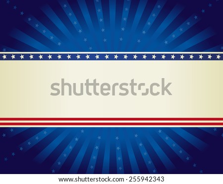 USA patriotic 4 th of july background design with stars and stripes with star burst  - stock vector