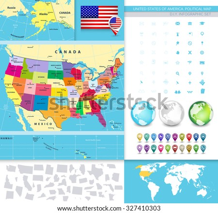 USA Political Map With It's States and Large Vector Image Set. - stock vector