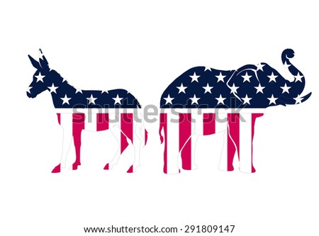 USA political parties symbols: democrats and repbublicans vector illustration on white background - stock vector