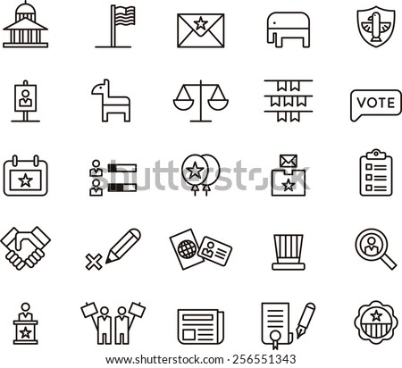 USA Politics icon set - stock vector