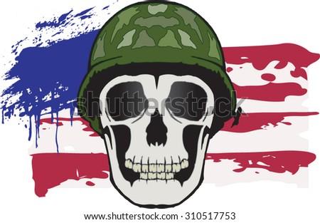 usa skull - stock vector