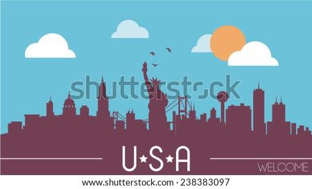 USA skyline silhouette vector illustration - stock vector