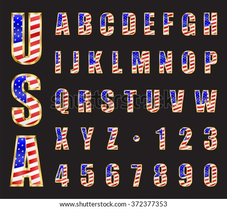 USA Stars and Stripes flag gold font. Letters and numbers vector - stock vector
