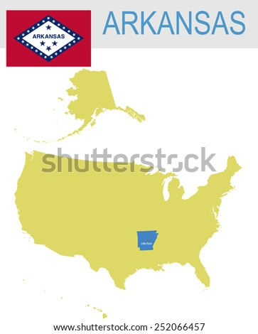 USA state Of Arkansas's map and Flag - stock vector