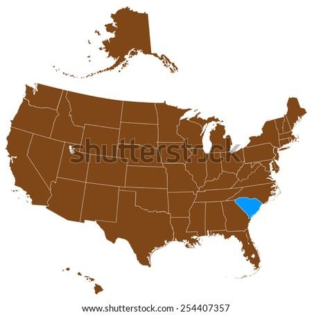 USA state Of South Carolina map   - stock vector