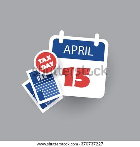 USA Tax Day Icon - Calendar Design Template - stock vector