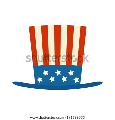 usa top hat for independence day vector illustration isolated on white background - stock vector
