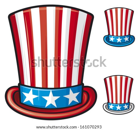usa top hat (uncle sam top hat, top hat for independence day)  - stock vector