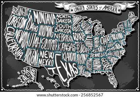 USA United States America Vintage Map on Old Vintage Blackboard. Retro Postcard Vector Illustration - stock vector