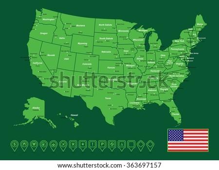 USA Vector Map - stock vector
