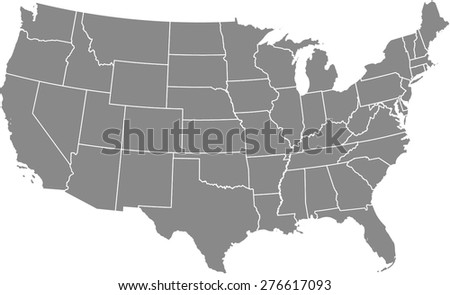 USA vector map outlines in grey color, Vector map of United States of America - stock vector