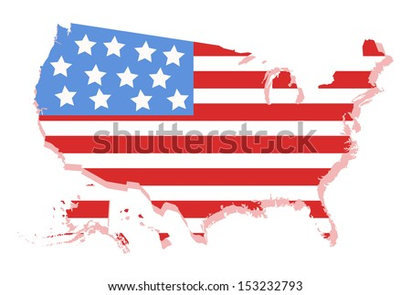 USA Vector Map with America's Flag design - stock vector