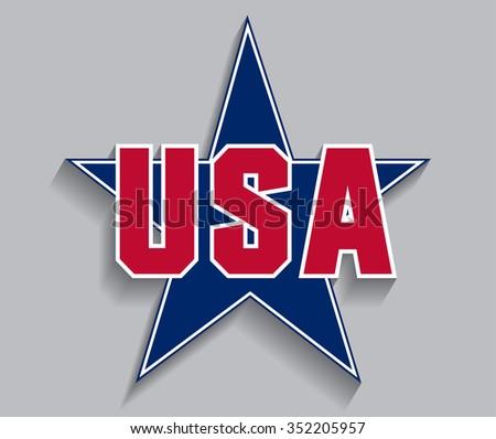USA vector symbol.Star with text USA.  - stock vector
