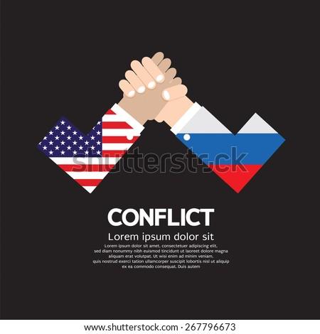 USA VS Russia Arm-Wrestle Vector Illustration - stock vector