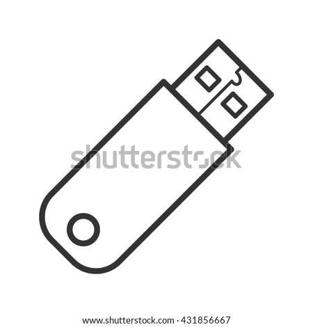 USB device icon. Line style - stock vector