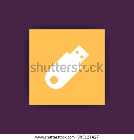 usb flash drive, data backup, storage square flat icon, vector illustration - stock vector