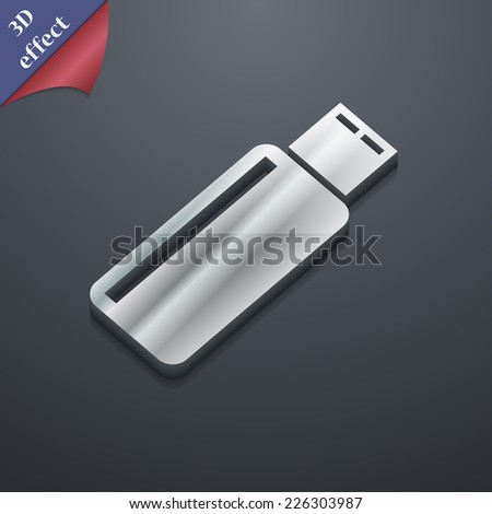 USB flash drive  icon symbol. 3D style. Trendy, modern design with space for your text Vector illustration - stock vector