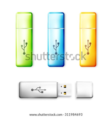 USB flash drive over white background. Memory transfer technology, storage electronic portable connect device. Vector illustration - stock vector