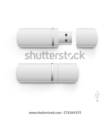 USB Flash Drive Stick Memory Vector Set Isolated on a White Background - stock vector