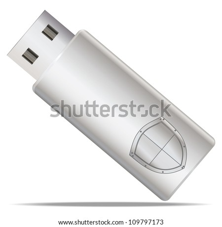 Usb flash memory with shield - stock vector