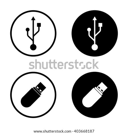 Usb icon set in circle . Vector illustration - stock vector