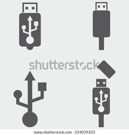 USB Icons - stock vector
