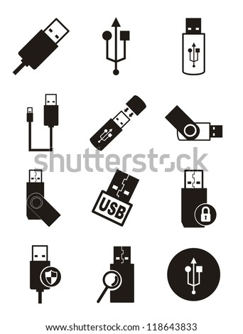 usb icons over white background. vector illustration - stock vector