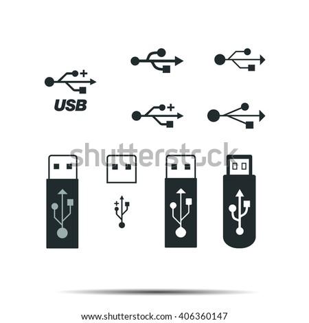USB icons set vector - stock vector