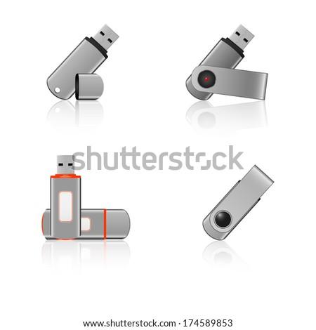 USB Memory Sticks - flash drive icons - stock vector