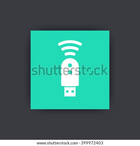 usb modem icon, pictogram, 3g, 4g, lte modem sign, square icon, vector illustration - stock vector