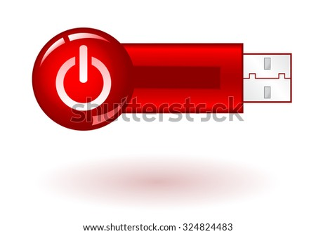 USB Pendrive with red power icon, on white background, vector illustration - stock vector