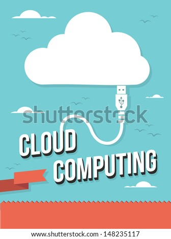 USB plug Cloud Computing concept illustration. Vector illustration layered for easy manipulation and custom coloring. - stock vector