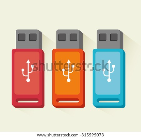 USB portable device storage  vector illustration eps 10. - stock vector