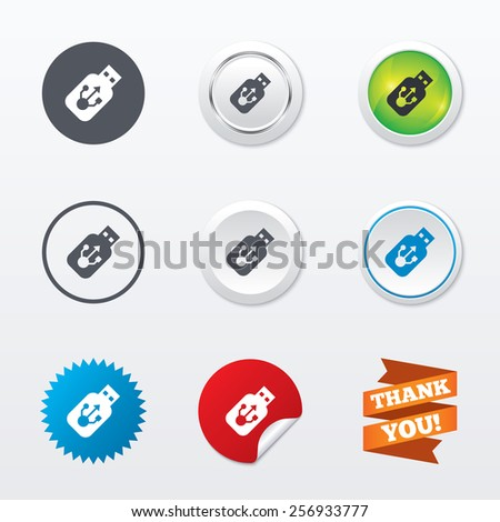 Usb sign icon. Usb flash drive stick symbol. Circle concept buttons. Metal edging. Star and label sticker. Vector - stock vector