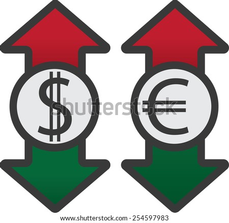 Usd and euro with colored up and down arrows - stock vector