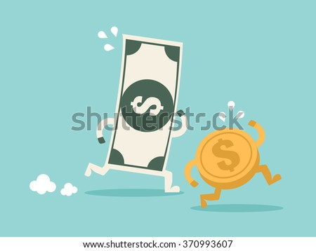 Use money working for you. Flat design for business financial marketing banking advertisement office people property in minimal concept cartoon illustration. - stock vector
