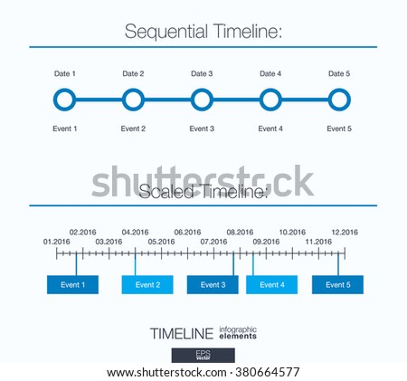 Useful infographic template. Set of graphic design elements: sequential and scaled timeline. Vector illustration. - stock vector