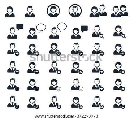 User black icons set - businessman, customer service, staff avatars. - stock vector