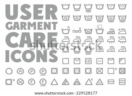 User garment care icons - stock vector