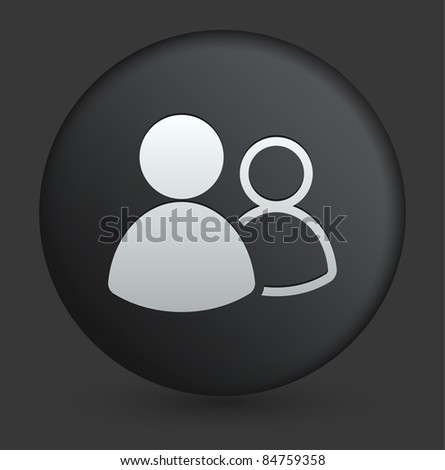User Group Icon on Round Black Button Collection Original Illustration - stock vector