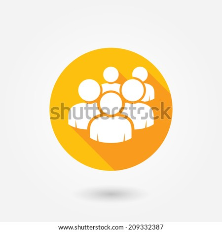 User group network icon. Flat icon with long shadow. Orange and white colors - stock vector
