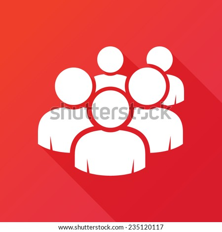 User group network icon. Modern design flat style icon with long shadow effect - stock vector