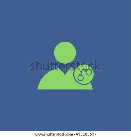 User icon, handcuffs icon. Flat design style eps 10 - stock vector