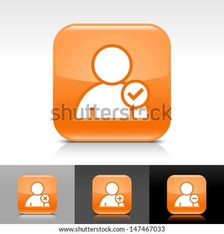 User icon set. Orange color glossy web button with white sign. Rounded square shape with shadow, reflection on white, gray, black background. Vector illustration design element 8 eps  - stock vector
